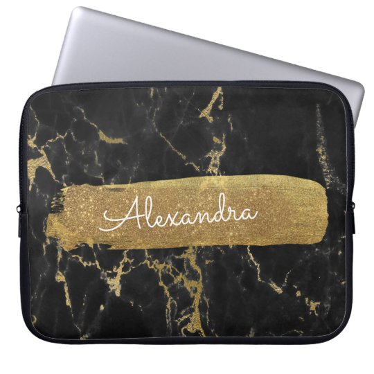 Black and Marble with Gold Foil and Glitter Laptop Sleeve