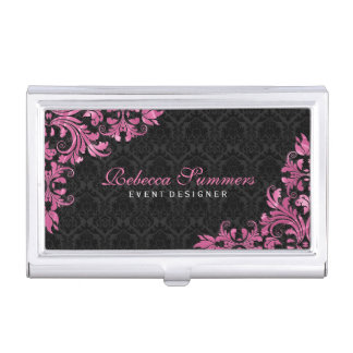 Black And Maroon Red Floral Lace Business Card Holder