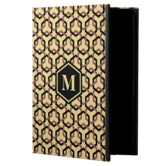 Black and Marsala Brown Linked Hexes iPad Case