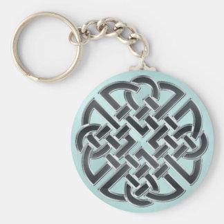 Black and Metallic Aqua Celtic Knot Keychain