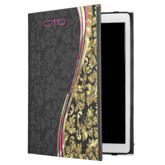 "Black And Metallic Gold Floral Girly Damasks iPad Pro 12.9"" Case"