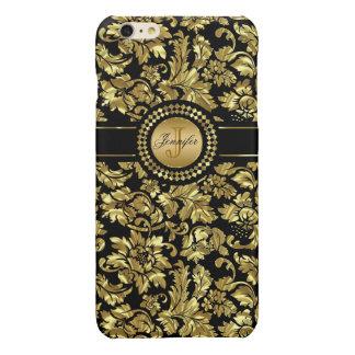 Black And Metallic Gold Vintage Floral Damasks