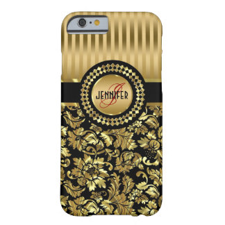 Black And Metallic Gold Vintage Floral Damasks Barely There iPhone 6 Case