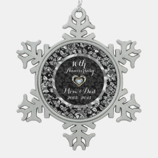 Black And Metallic Silver 10th Wedding Anniversary Snowflake Pewter Christmas Ornament