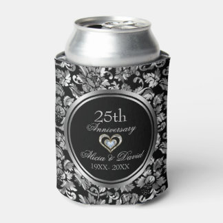 Black And Metallic Silver 25th Wedding Anniversary Can Cooler