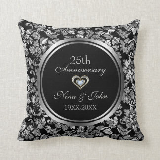Black And Metallic Silver 25th Wedding Anniversary Throw Pillow