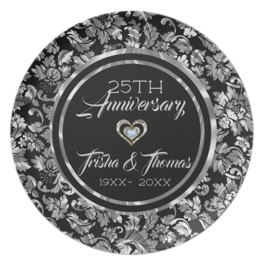 Black And Metallic Silver Vintage Floral Damasks Plate