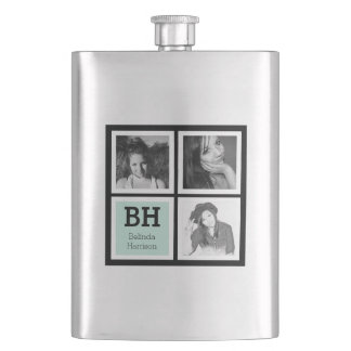Black and Mint Custom Instagram Photos Personalize Hip Flask