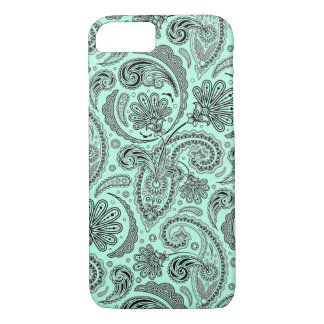 Black And Mint-Green Ornate Floral Paisley iPhone 8/7 Case