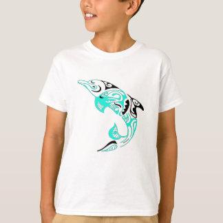 Black and Mint Tribal Dolphin Tattoo Design T-Shirt