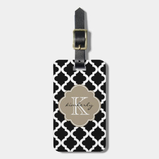 Black and Mocha Float Moroccan Quatrefoil Print Luggage Tag