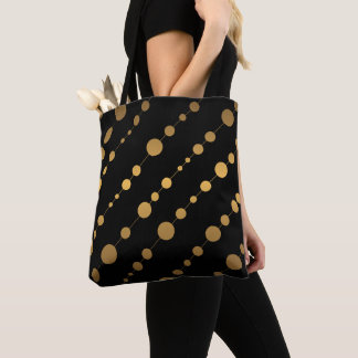 Black and Modern Gold Dot Pattern Tote Bag
