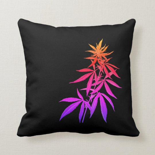 Black and Multi Hemp Throw Pillow