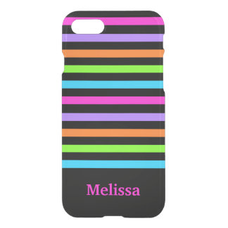 Black and Multi Striped Personalized iPhone 8/7 Case