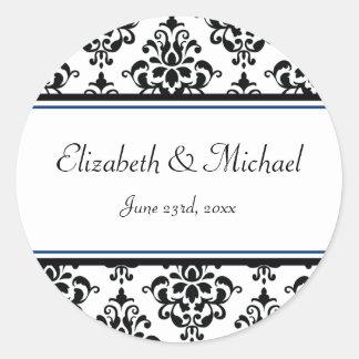 Black and Navy Damask Round Wedding Favor Label Round Sticker