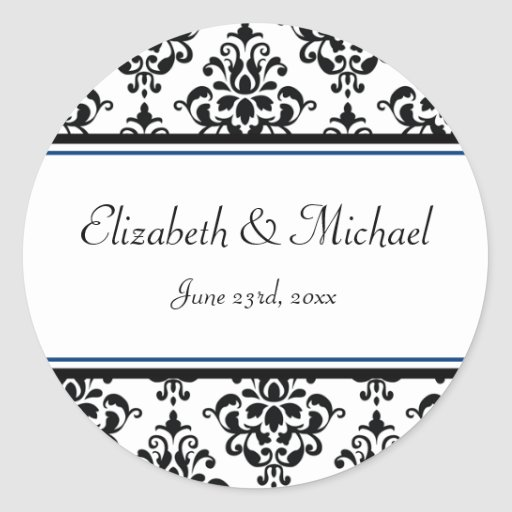 Black and Navy Damask Round Wedding Favor Label Sticker