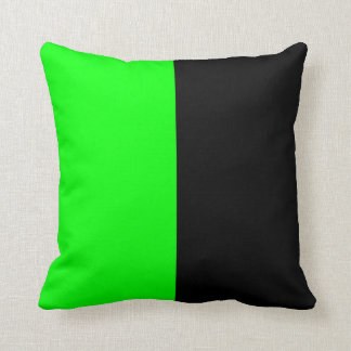 Black and Neon Green Split Color Throw Pillow