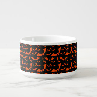 black and orange bats halloween pattern chili bowl