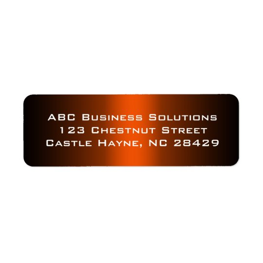 Black and Orange Business Return Address Sticker Return Address Label
