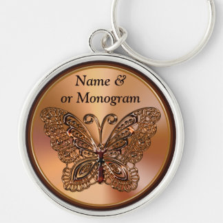 Black and Orange Butterfly Keychains, PERSONALIZED Silver-Colored Round Keychain
