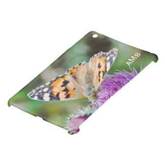 Black and Orange Butterfly on Purple Flower iPad Mini Cover