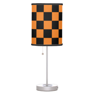 Black And Orange Checkered Table Lamp