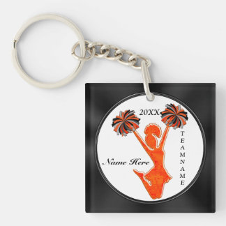 Black and Orange Cheer Keychains with 3 TEXT BOXES