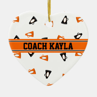Black and Orange Cheer Megaphones Personalized Ceramic Ornament