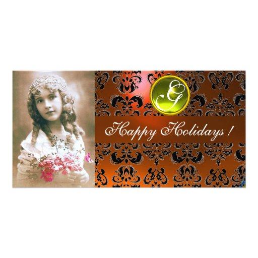 BLACK AND ORANGE DAMASK Yellow Topaz Monogram Customized Photo Card