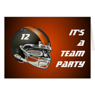 Black and Orange Football Helmet Card