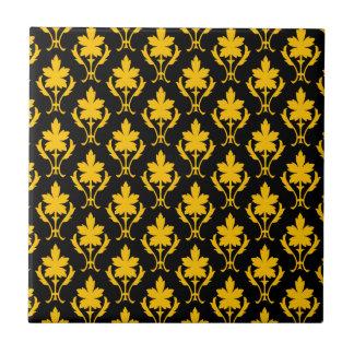 Black And Orange Ornate Wallpaper Pattern Tiles