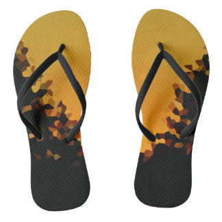 Black and Orange Pixel Mosaic Shape Abstract Flip Flops