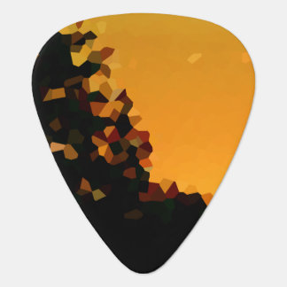 Black and Orange Pixel Mosaic Shape Abstract Guitar Pick