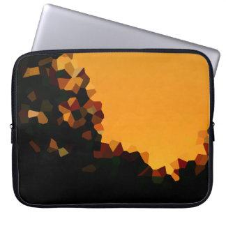 Black and Orange Pixel Mosaic Shape Abstract Laptop Sleeve