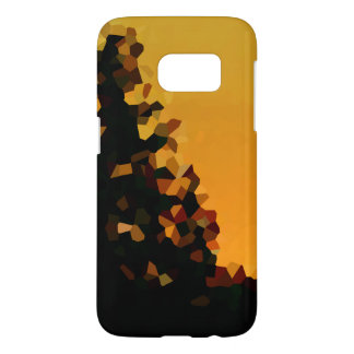Black and Orange Pixel Mosaic Shape Abstract Samsung Galaxy S7 Case