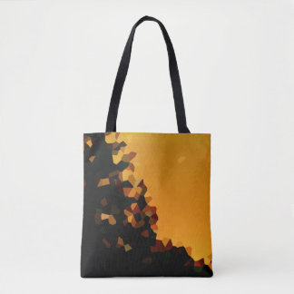 Black and Orange Pixel Mosaic Shape Abstract Tote Bag