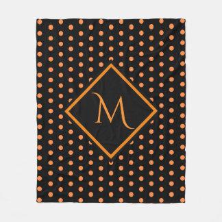 Black and Orange Polka dots Pattern Monogram Fleece Blanket