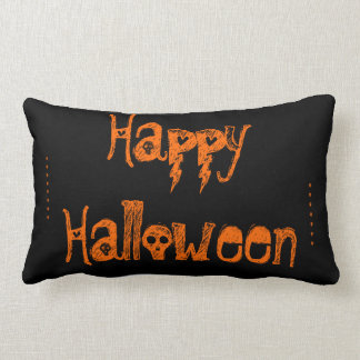 black and orange skull Halloween pillow