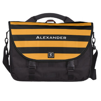 Black and orange stripes pattern bags for laptop