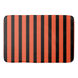 Black And Orange Stripes Retro Pattern Bathroom Mat
