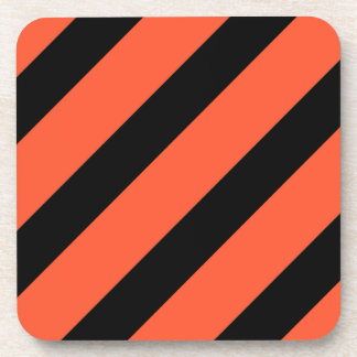 Black And Orange Stripes Vintage Pattern Coaster