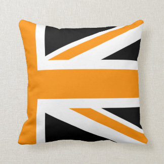 Black and Orange Union Jack Half Throw Pillow