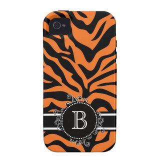 Black and Orange Zebra Monogrammed Case-Mate iPhone 4 Case