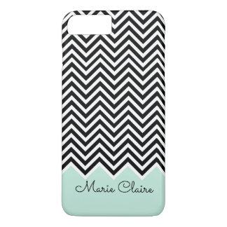 Black and pale blue Modern Chevron Custom Monogram iPhone 8 Plus/7 Plus Case