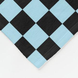 Black And Pastel Blue Checkered Pattern Fleece Blanket