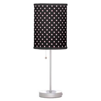 Black And Pastel Pink Polka Dot Pattern Table Lamp
