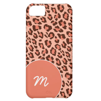 Black and Peach Leopard Skin Case For iPhone 5C