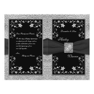 Black and Pewter Floral Wedding Program