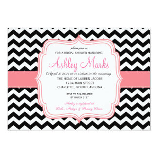 "Black and Pink 5"" X 7"" Invitation Card"