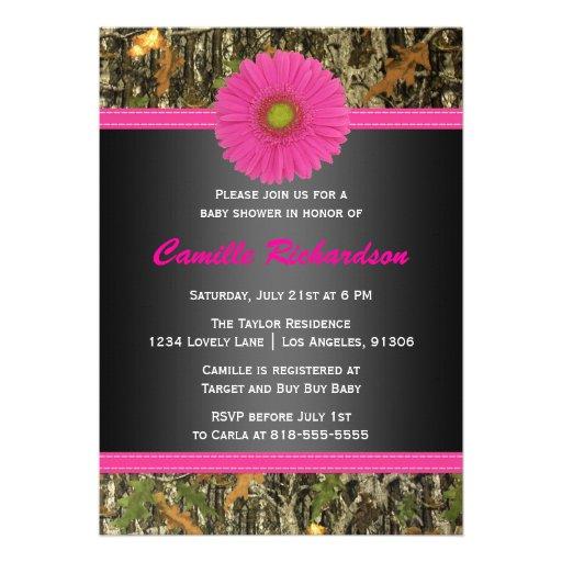 black and pink camo girl baby shower invitation zazzle